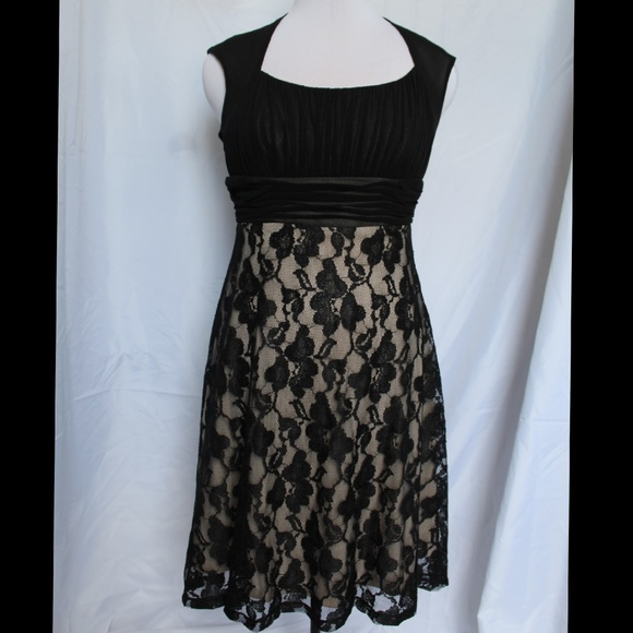 Sangria Petite Dresses Formal Black Lace Dress By Sangria Nwot